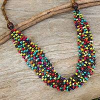 Wood beaded necklace, 'Rainbow Muse'