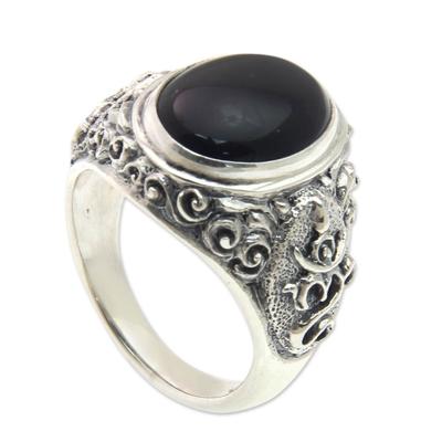 Men's onyx ring, 'Black Om Kara' - Handcrafted Onyx and Sterling Silver Om Ring for Men