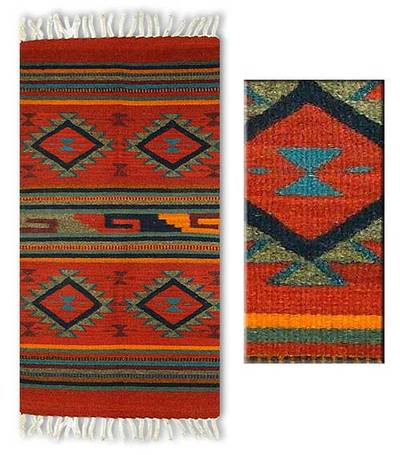 Zapotec wool rug, Red Rhombus (2x3)