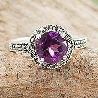 Amethyst single stone ring, 'Contemporary Belle'