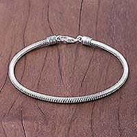 Sterling silver chain bracelet, 'Serpentine Path'