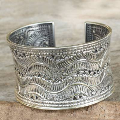 Sterling silver cuff bracelet, Forest Ferns