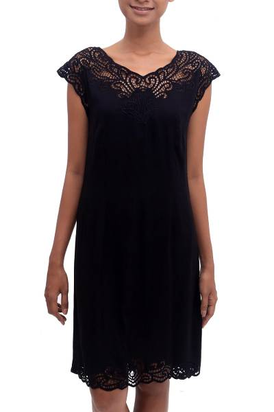 Rayon dress, 'Onyx Kirana' - Embroidered Rayon Fit & Flare Dress in Onyx from Bali