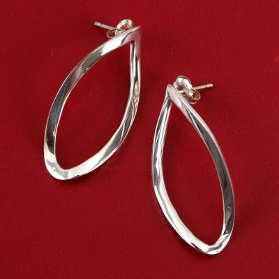 Sterling silver drop earrings, 'Leaf Twist' - Taxco Sterling Silver Drop Earrings from Mexico