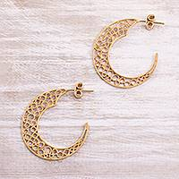 Gold plated sterling silver filigree half-hoop earrings, 'Glistening Moons'