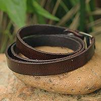 Leather wrap bracelet, 'Enigma in Brown'