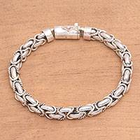 Sterling silver chain bracelet, 'Valiant Spirit'