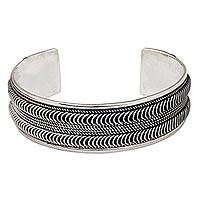 Sterling silver cuff bracelet, 'River Currents' - Thai Style Sterling Silver Cuff Bracelet