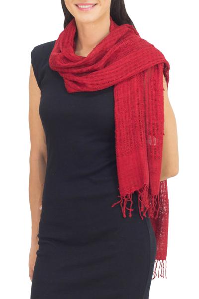 Silk scarf, 'Summer Ruby' - Coarse Textured Red Silk Scarf Handwoven in Thailand