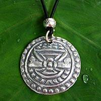 Silver pendant necklace, 'Temple Fortunes' - Silver pendant necklace