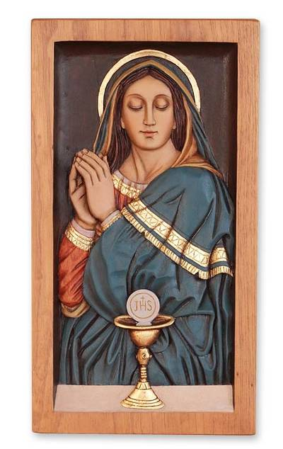 Cedar relief panel, 'Mary and the Eucharist' - Religious Carved Relief Wall Panel of Cedar and Bronze Leaf