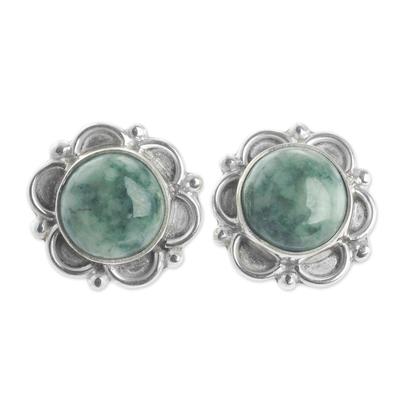 Jade flower earrings,