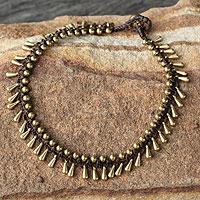 Brass beaded anklet, 'Sweet Charm' - Handmade Hill Tribe Brass Beaded Anklet