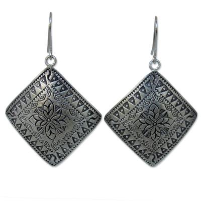 Sterling silver dangle earrings, 'Hill Tribe Flower' - Thai Sterling Silver Dangle Earrings
