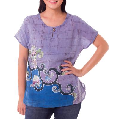 Cotton batik blouse, 'Thai Spring' - Handcrafted Batik on Cotton Floral Sheer Women's Blouse