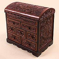 Cedar and leather jewelry box, 'Formidable Falcon' - Cedar and Leather Jewelry Box with Key from Peru