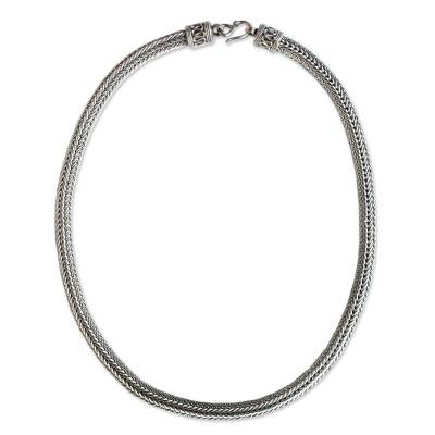 Men's sterling silver chain necklace, 'Harmony' - Men's Unique Sterling Silver Chain Necklace