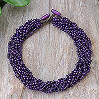 Wood torsade necklace, 'Nan Belle'