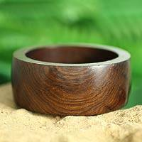 Wood bangle bracelet, 'Forest Empress' - Handmade Wood Bangle Bracelet from India Jewelry