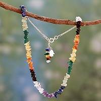 Multi-gemstone chakra necklace, 'Tranquil Mind' - Multi Gemstone Sterling Silver Necklace Chakra Jewelry
