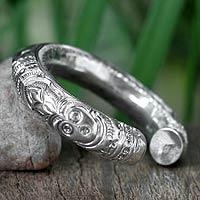 Sterling silver cuff bracelet, 'Deities' - Sterling Silver Cuff Bracelet from Thailand