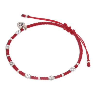Silver beaded bracelet, 'Inner Heart in Red' - Karen Silver Beaded Heart Bracelet in Red from Thailand