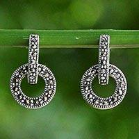 Marcasite drop earrings, 'Bold Connection'