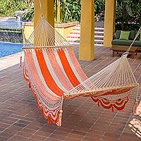 Cotton hammock, 'Sweet Orange' (single)
