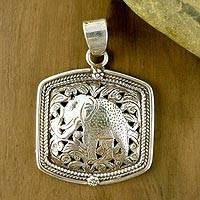 Sterling silver pendant, 'Jungle Elephant' - Handcrafted Sterling Silver Pendant from India