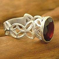 Garnet solitaire ring, 'Daydream' - Garnet Ring with Sterling Silver Openwork from India