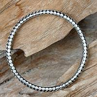 Sterling silver bangle bracelet, 'Seed Harvest' - Minimalist Sterling Silver Bracelet from Bali