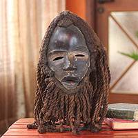 African wood and jute mask, 'Spirit of Darkness' - Liberian Wood Mask