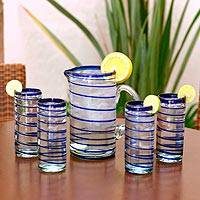 Highball glasses, 'Cobalt Spiral' (set of 4) - Hand Made Handblown Glass Four Drinking Glasses