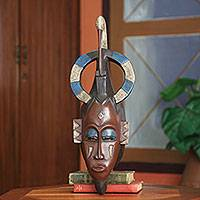 African mask, 'Ivoirian Flamingo Guardian' - Hand Carved Ivoirian African Mask