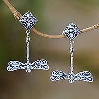 Sterling silver dangle earrings, 'Diving Dragonflies'