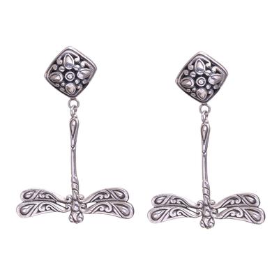 Sterling silver dangle earrings, 'Diving Dragonflies' - Bali Artisanal Sterling Silver Dragonfly Dangle Earrings