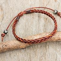 Braided leather bracelet, 'Cinnamon Braid'