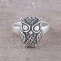 Sterling silver cocktail ring, 'Night King'