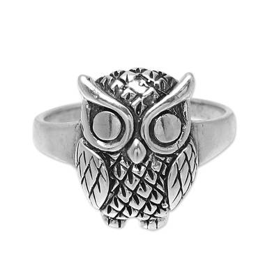 Sterling silver cocktail ring, 'Night King' - Sterling Silver Owl Cocktail Ring from India