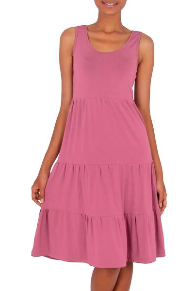 Jersey knit sundress, 'Rose Ruffles' - Jersey knit sundress
