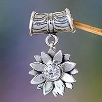 Sterling silver pendant, 'April Daisy' - Fair Trade Sterling Silver and Cubic Zirconia Pendan