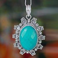 Sterling silver pendant necklace, 'Mystical Sky' - Magnesite and Sterling Silver Pendant Necklace