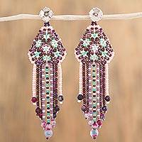 Agate waterfall earrings, 'Sweet Tradition' - Agate and Glass Bead Waterfall Earrings from Mexico