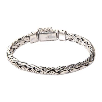 Men's sterling silver bracelet 'Wisdom' - Men's Sterling Silver Chain Bracelet