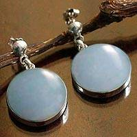 Angelite dangle earrings, 'Fresh Approach' - Round Angelite and Sterling Silver Dangle Earrings