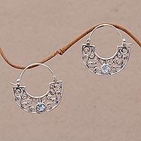 Blue topaz hoop earrings, 'Blue Jasmine' - Handcrafted Sterling Silver and Blue Topaz Earrings