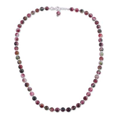 Colorful Quartz and Silver Beaded Necklace from India