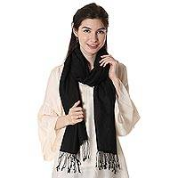 Silk and wool blend shawl, 'Midnight Flair' - Silk and Wool Blend Black Fringed Shawl from India