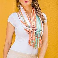Cotton infinity scarf, 'Exuberant Beauty in Coral' - Orange and Mint Striped Cotton Infinity Scarf with Fringe