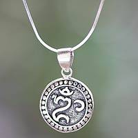 Sterling silver pendant necklace, 'Om Halo' - Balinese Hindu Om Necklace